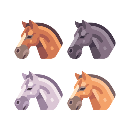 Set of horse heads of different color flat illustration Ilustrace