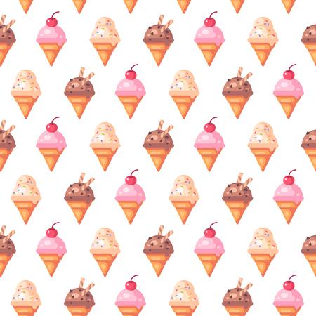 Various ice cream cones seamless pattern. Vanilla, cherry and chocolate ice cream icons