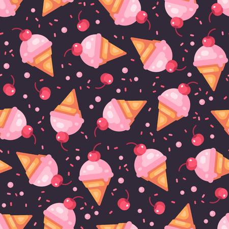 Cherry ice cream cone dark seamless pattern with cherries and sprinkles Ilustração