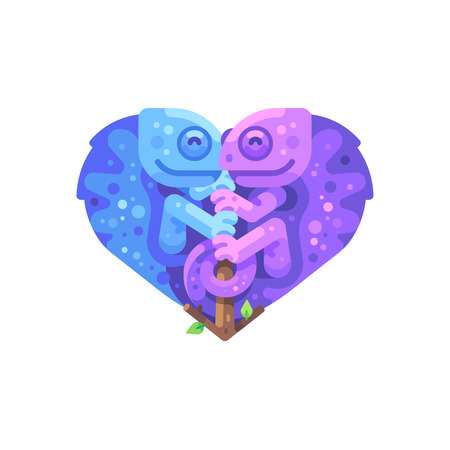 Blue and purple chameleons sitting on a branch in the shape of a heart. Valentines Day flat illustration Reklamní fotografie - 123947128