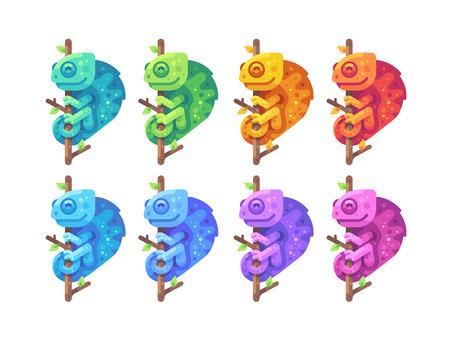 Set of colorful chameleons sitting on branches flat illustration Reklamní fotografie - 123947154
