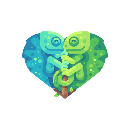 Teal and green chameleons sitting on a branch in the shape of a heart. Valentines Day flat illustration