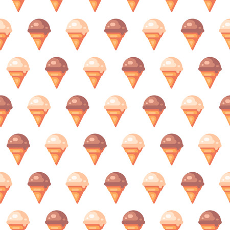 Various ice cream cones seamless pattern. Vanilla and chocolate ice cream icons