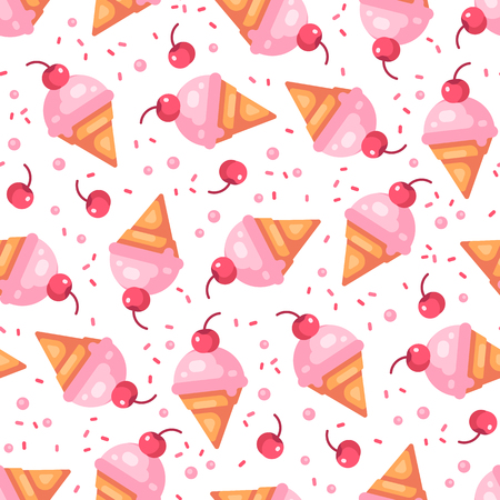 Pink cherry ice cream cone seamless pattern with cherries and sprinkles Reklamní fotografie - 124511420