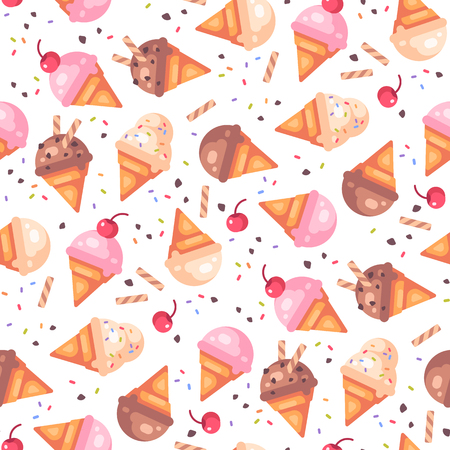Various ice cream cones seamless pattern with cherries and waffles