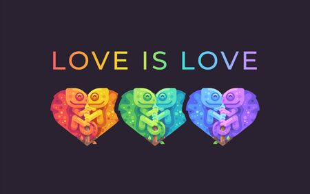 Love is love. Pride month rainbow illustration with cute chameleons. LGBTQ community concept Ilustrace