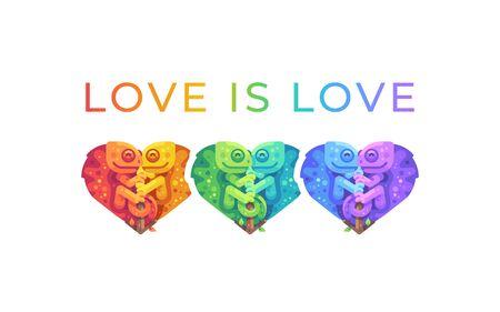 Love is love. Pride month rainbow illustration with cute chameleons. LGBTQ community concept Reklamní fotografie - 134766256