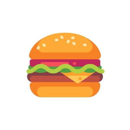 Tasty burger with cheese and salad. Fast food flat icon Ilustrace
