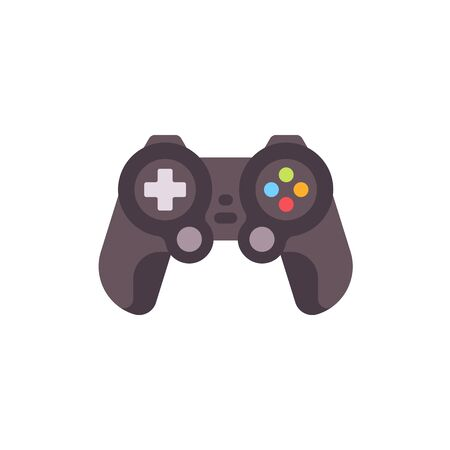 Black video game controller flat icon