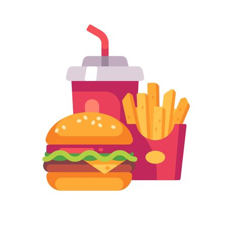 Burger, potato fries and soda drink cup. Fast food flat icon Reklamní fotografie - 131826763