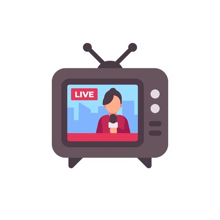 TV set with live news on screen flat icon