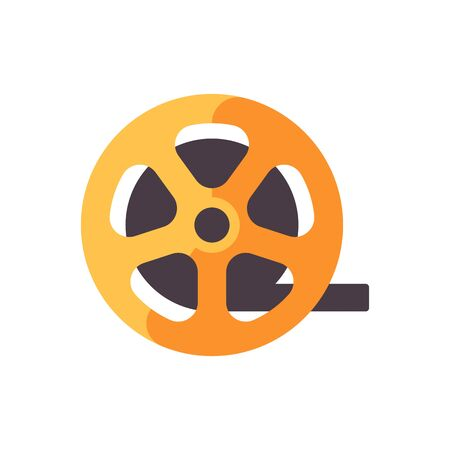 Film strip roll. Cinematography flat icon