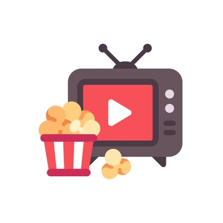 TV with play button and popcorn bucket flat icon Ilustrace