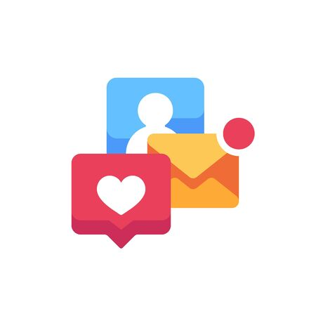 Notification pop-ups flat icon. E-mail and social media alerts