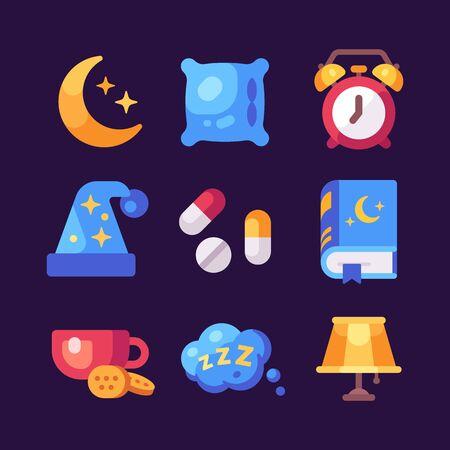 Set of flat sleep icons on dark background. Moon, pillow, alarm clock, pills, tea, lamp, book and sleeping cap