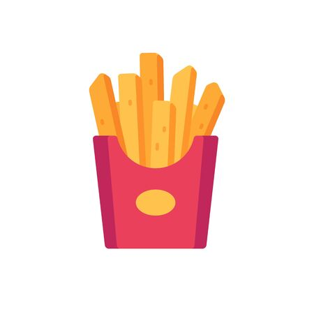 French fries in a red  paper package. Fast food flat icon