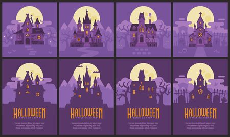 Four Halloween houses and flyers. Witch hut, Vampire castle, Haunted house and Graveyard chapel. Spooky Halloween backgrounds and posters