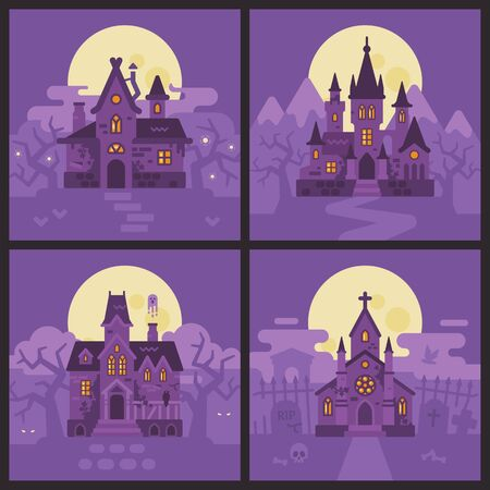Four Halloween houses. Witch hut, Vampire castle, Haunted house and Graveyard chapel. Spooky Halloween backgrounds Reklamní fotografie - 131827228