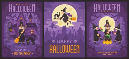 Three Halloween posters with old witches Ilustração