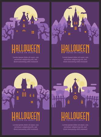 Four flyers with Halloween houses. Witch hut, Vampire castle, Haunted house and Graveyard chapel. Spooky Halloween posters Çizim