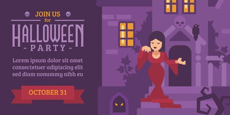 Halloween flyer with a woman in a red dress in a haunted house