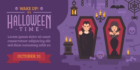 Halloween flyer with vampires sleeping in coffins Ilustrace