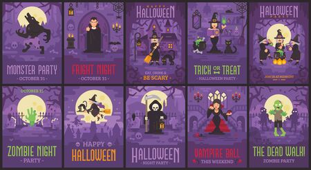 Ten Halloween posters with witches, vampires, zombies, werewolves and Grim Reaper. Halloween flyer collection Reklamní fotografie - 131829113
