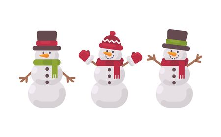Christmas snowmen collection. Cute winter characters flat illustration Ilustração
