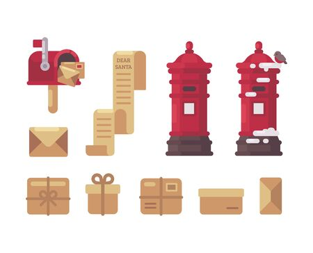 Christmas mail item collection. Letters to Santa, mailboxes, parcels