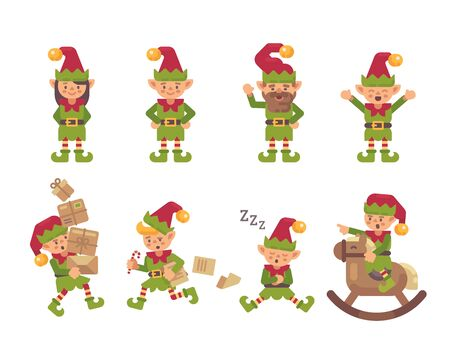 Christmas elves collection. Holiday characters flat illustration Ilustrace
