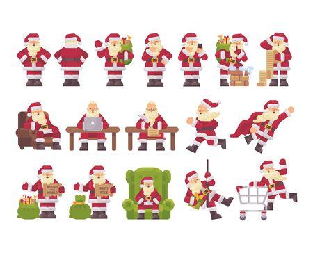 Santa Clus character collection. Christmas flat illustration Ilustrace