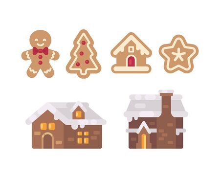 Christmas gingerbread collection. Holiday cookies flat illustration Ilustrace