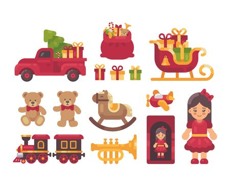 Christmas presents collection. Toys and gifts flat illustration Ilustrace
