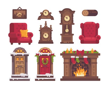 Christmas interior items collection. Holiday flat illustration Ilustrace