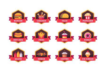 Collection of fast food badges. Restaurant menu labels