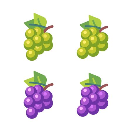 Set of four bunches of grapes. Fruit flat icons