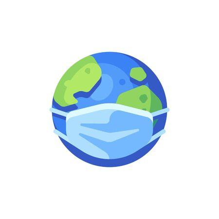 Earth with medical face mask flat icon. SARS-CoV-2 novel coronavirus global pandemic vector illustration