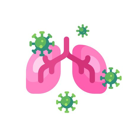 Lungs infected by viruses vector illustration. Coronavirus infection concept
