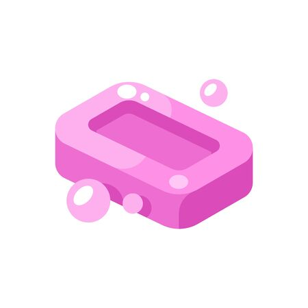 Pink soap bar with bubbles illustration. Hygiene flat icon
