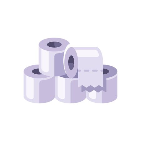 Pile of white toilet paper rolls flat illustration. Hygienic paper tissues stack