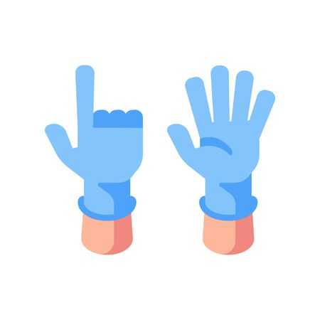 Two hands in medical gloves flat illustration. Open palm and pointed finger icons