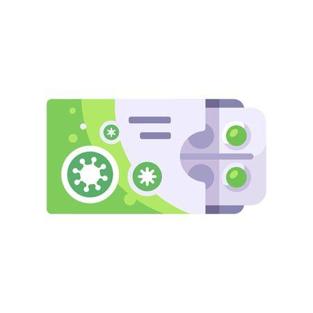 Green box of pills for virus treatment. Antiviral drug concept. Medicine for coronavirus