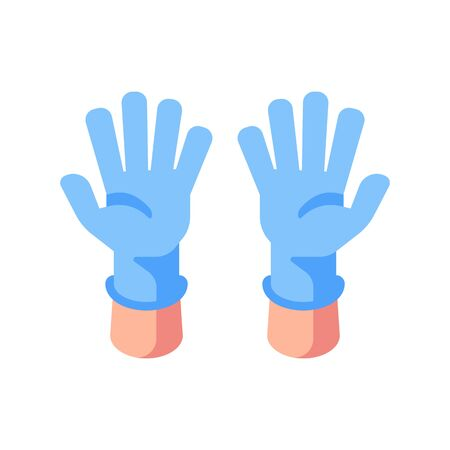 Two hands in medical gloves flat illustration. Open palms in blue gloves Vettoriali