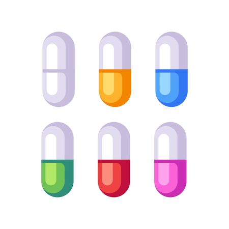 Set of colorful pills. Medicine flat icons 向量圖像