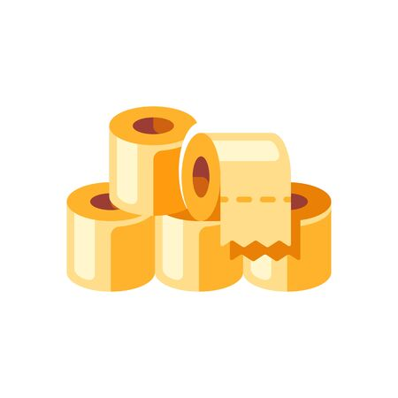 Pile of yellow toilet paper rolls flat illustration. Hygienic paper tissues stack Vettoriali