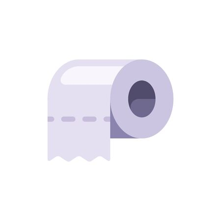 White toilet paper roll flat icon. Hygienic paper tissues illustration