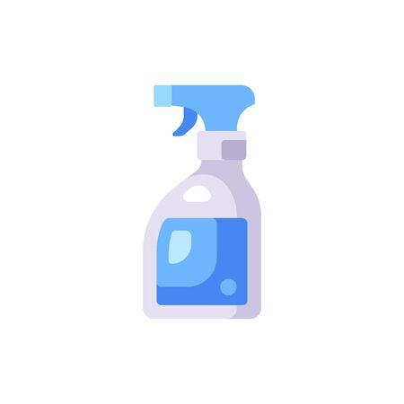 Transparent disinfectant bottle illustration. Sanitizer spray flat icon