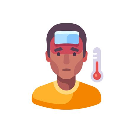 Fever flat illustration. Sick African American man with a cold