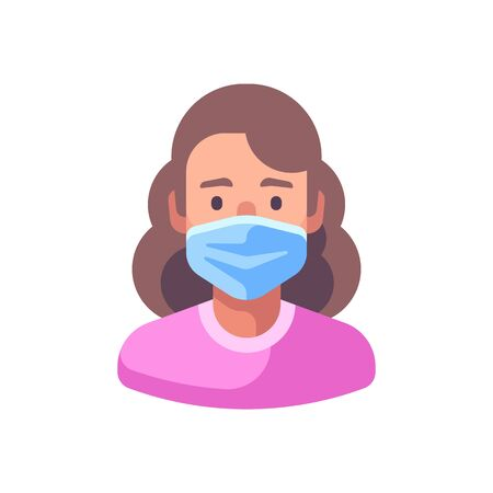 Woman in medical surgical mask. Virus protection flat illustration