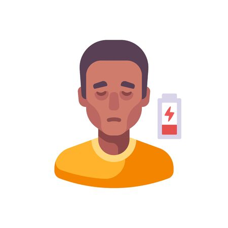 Low energy icon. Fatigue flat illustration. African American man feeling tired and sleepy Vettoriali